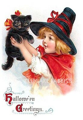 Jolly Halloween Girl Black Cat Quilt Block Multi Sizes FrEE ShiPPinG WoRld WiDE