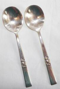 2 Morgenstern Silverplate Suppe Löffel Oneida Community Bestecke runde Schüssel 1948