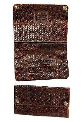 """ORIGINAL KAVATZA Tobacco Pouch /""""Woven2/"""" Genuine Leather Rolling Help Papers Slot"""