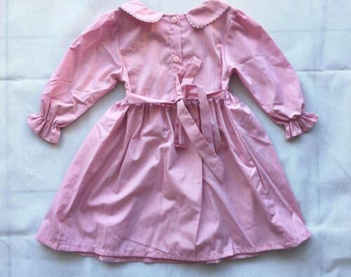Girl/'s HandMade Embroidered Peter Pan Collar Long Sleeve Faded Pink
