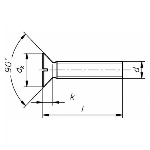 Messing blank DIN 963 Senkschraube mit Schlitz M 8 x 80