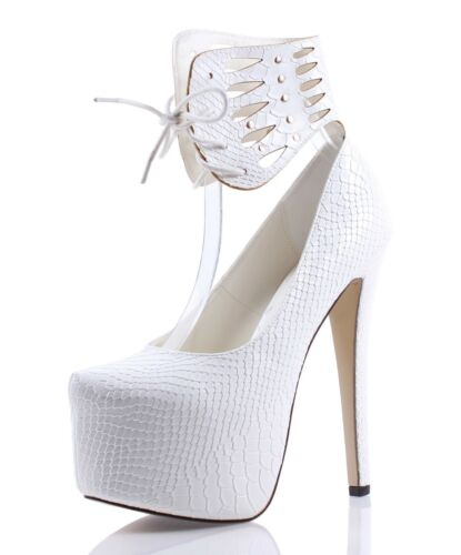 Ankle Strap Stilettos Pump Snake Skin Print Platform Womens High Heels Shoes