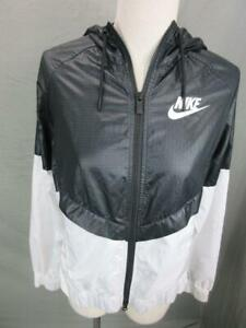 Nike Size S Womens Black/White Athletic Full Zip Sport Hooded Track Jacket T646