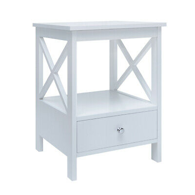 Details about  White Side Table w/ 1 Drawer Bedside Nightstand Sofa Table MDF Painted Finish