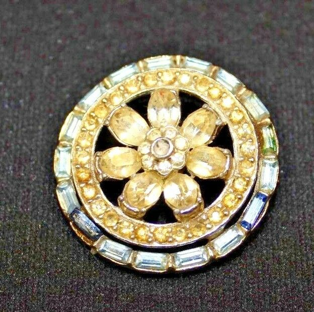 VINTAGE CRYSTAL JEWELED bluee & Yellow Round Flower PIN BROOCH