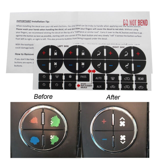 AC Button Repair Kit Decal Stickers Dash Replacement for 07-13 Chevy GMC 2 Pack