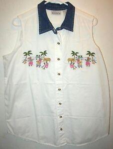 ae08a8a0a94ef1 Basic Editions Womens XL Sleeveless Camp Shirt White Hawaiian Bears ...