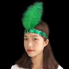 1920s Headpiece Vintage Prom Flapper Sequin Ostrich Feather Headband Headdress