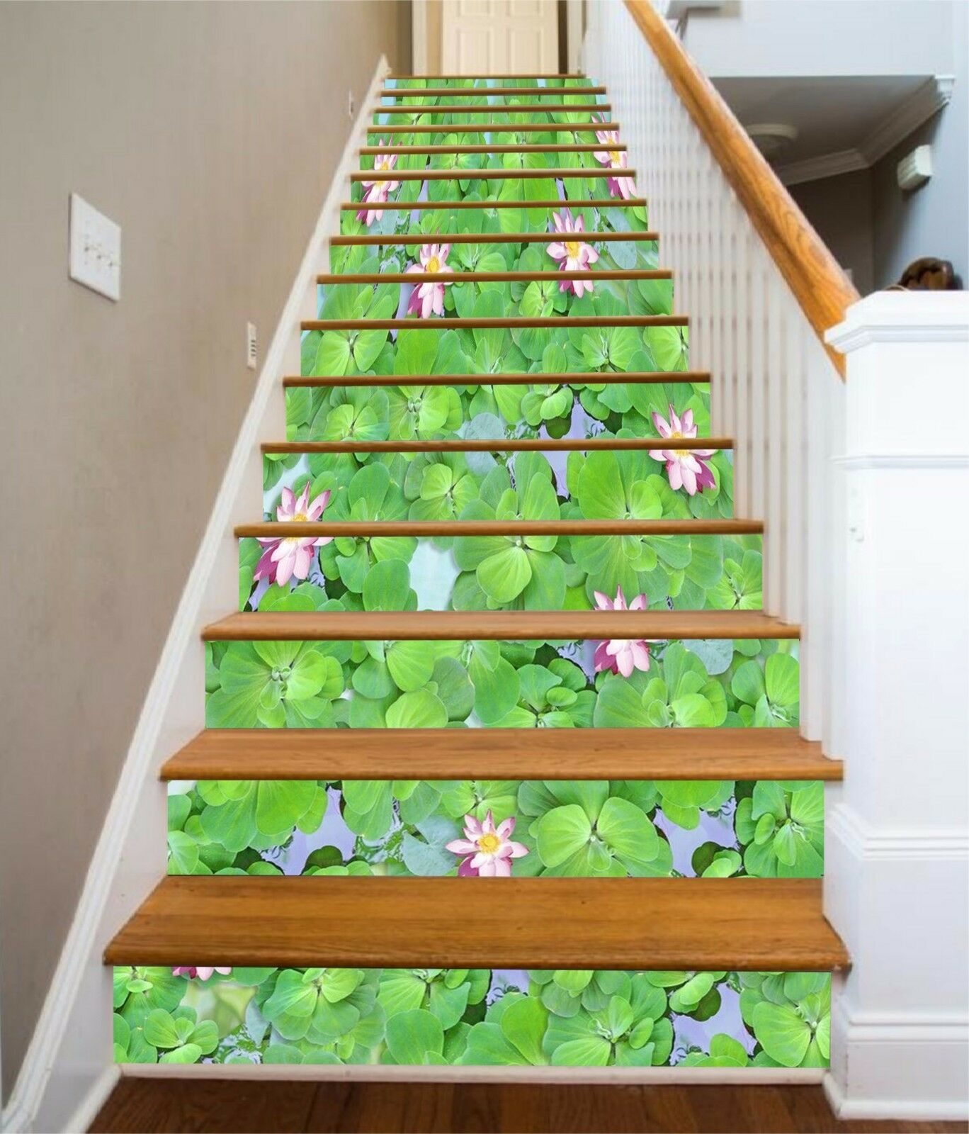 3D Green lotus leaf 323 Risers Decoration Photo Mural Vinyl Decal Wallpaper US