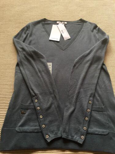 Lacoste scollo a tags Novità V con 6 Titane Taglia con 100 autentico W maglione ardesia bottoni zYAY1