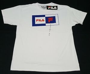 FILA-Men-039-s-T-shirt-Logo-Active-Sports-Apparel-Training-white-classic-Logo
