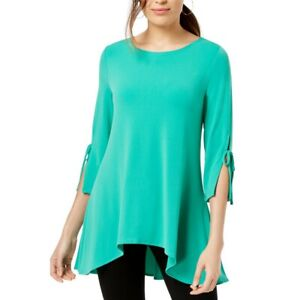 ALFANI-NEW-Women-039-s-Asymmetrical-Tie-sleeve-Swing-Blouse-Shirt-Top-TEDO
