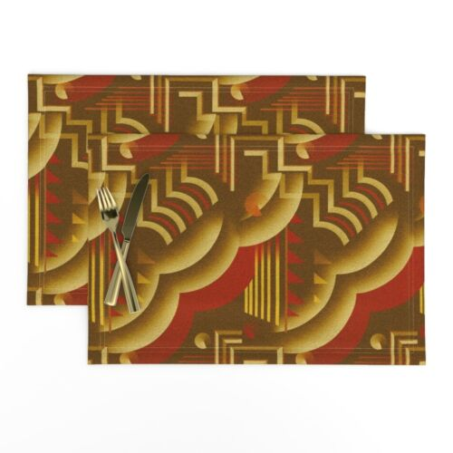Cloth Placemats Art Deco Retro Style Red Gold 1920S Vintage Abstract Set of 2