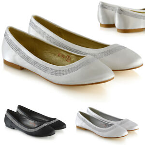 Womens-Bridal-Diamante-Pumps-Ladies-Slip-On-Flat-Satin-Bridesmaid-Party-Shoes