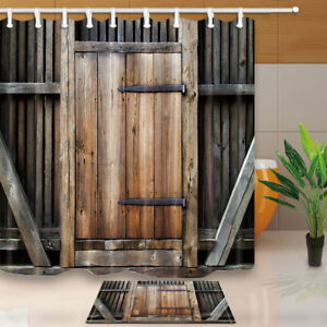 Image Is Loading Rustic Wooden Barn Door Decor Bathroom Fabric