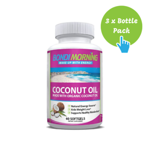 Organic-Coconut-Oil-1000mg-100-Extra-Virgin-Supplement-with-MCTs-60-Caps-x-3