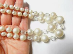 Off-White-Faux-Pearl-AB-Crystal-Graduated-Beaded-Double-Strand-Necklace-Vintage