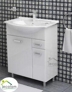 Waschbecken Mit Unterschrank 55 Cm Breit.Details Zu Badmöbel Bad Waschbecken 55 65 Cm Waschtisch Unterschrank Tür Weiß