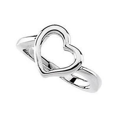 MRT .925 Sterling Silver Open Heart Ring Ladies Womens Valentines Gift Jewelry