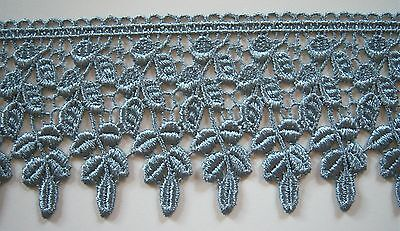 10 YARDS 3 1/4 INCH WIDE DUSTY BLUE VENICE LACE