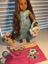 American Girl Doll Kanani Collectors Lot Includes Dog Purse Snorkels Pajamas+++