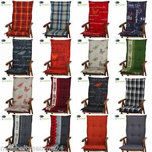 4 x auflagen f r hochlehner 8 cm dick 17 farben zur wahl gartenm belauflagen neu ebay. Black Bedroom Furniture Sets. Home Design Ideas