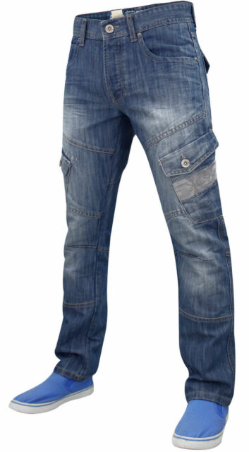 Mens Crosshatch Cargos Pants Combat Trouser Cotton Casual Cargo Pockets Jeans