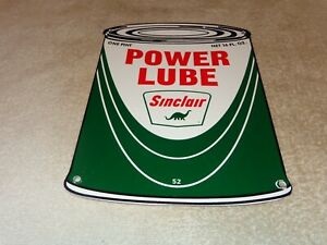VINTAGE-1952-SINCLAIR-POWER-LUBE-OIL-CAN-DINO-11-034-PORCELAIN-METAL-GASOLINE-SIGN