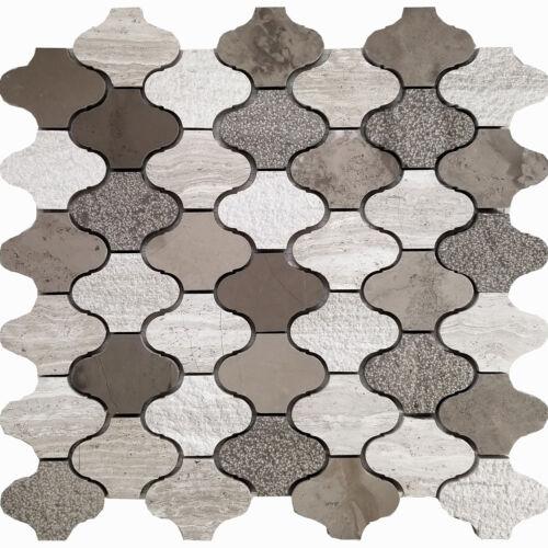 Brown White Pattern Marble Stone Mosaic Tile Kitchen Shower Wall Backsplash