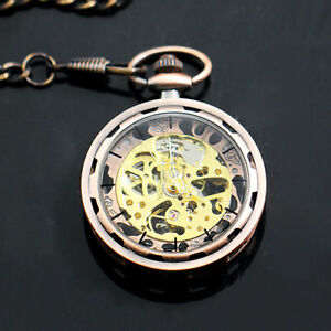 ITS-KF-Classic-Roman-Gold-Skeleton-Mechanical-Men-039-s-Pendant-Pocket-Watch-With