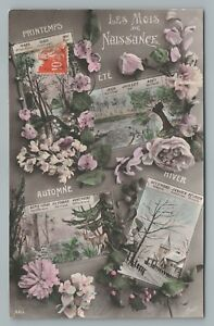 034-Birth-Months-Antique-French-Calendar-RPPC-Photo-Spring-Summer-Fall-Winter-1912