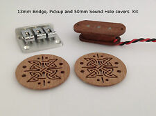 Cigar Box Guitar Bridge,Pickup And 2 Sound Hole Cover Kit (string spacings 13mm)