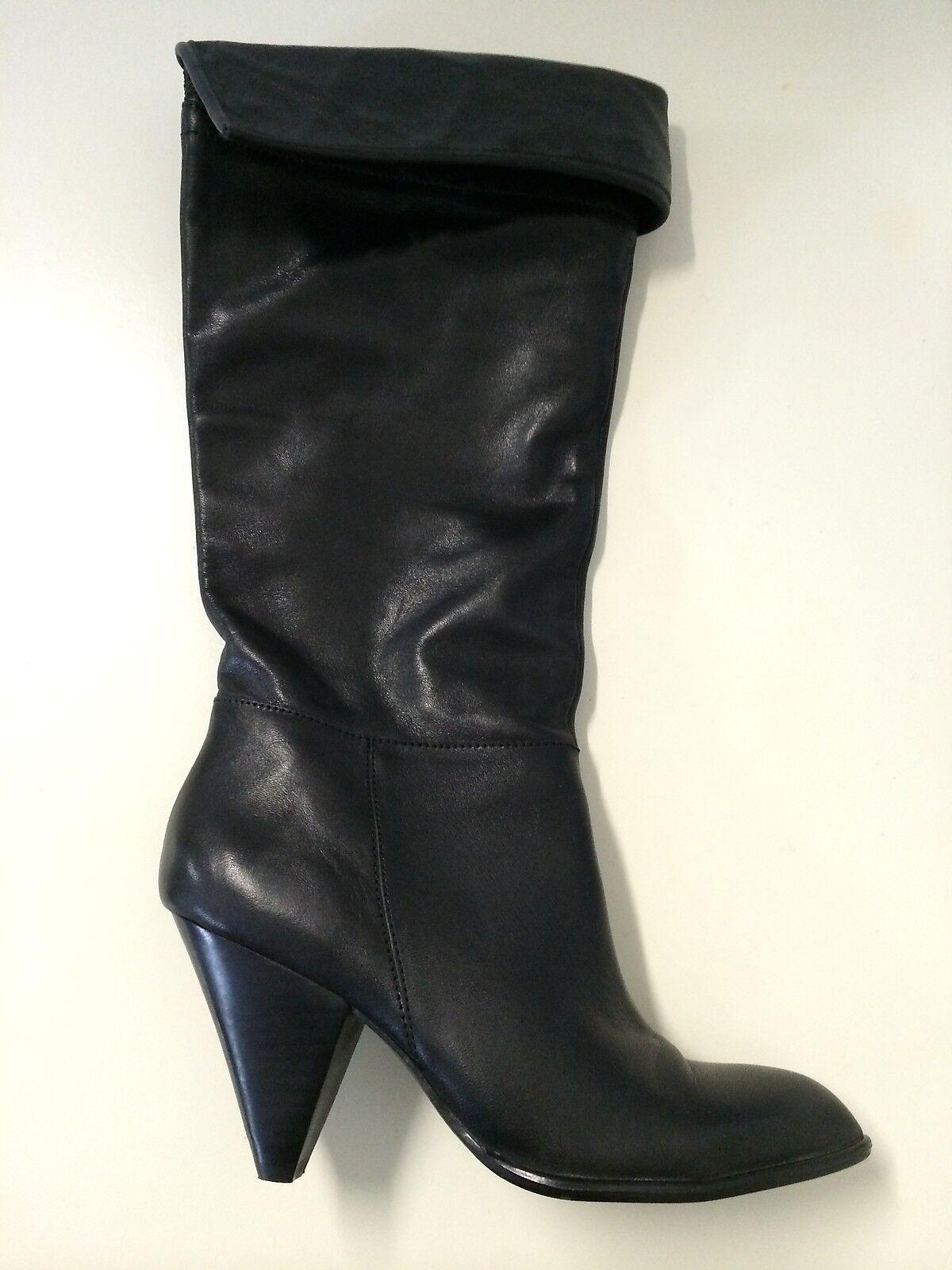 B. Makowsky Fleeza Black Leather High Boots Women's Size 6.5 NWOB