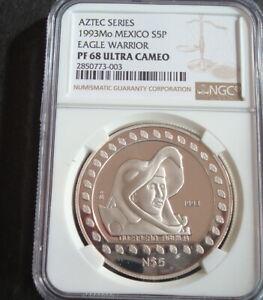 1993 Mexico Mo Rare $5P Silver NGC PF 68 Ultra Cameo EAGLE WARRIOR Uncirculated