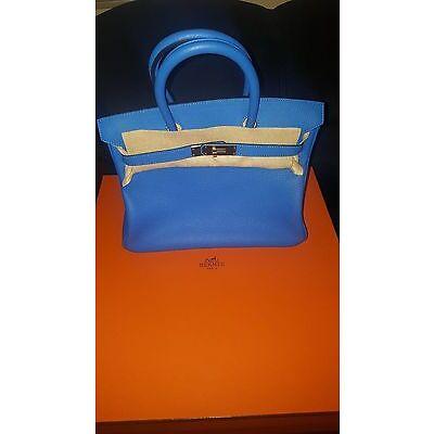 New Hermes birkin clemence hydra blue 30cm hand bag
