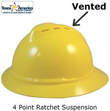 Msa Advance Full Brim Vented Hard Hat With 4 Pt Ratchet Suspension Yellow