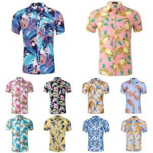 826eb9cf40 Details about Mens Flower 3d Print Hawaiian Beach Aloha Short Sleeve Button  Down Holiday Shirt