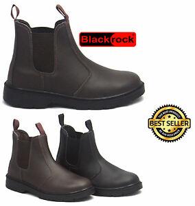 nuevo estilo 2fae2 5f53b Detalles de Blackrock Cuero Distribuidor Chelsea sin Cordones Puntera de  Acero Botas Trabajo