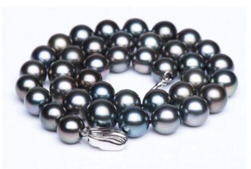 "Tahiti Véritable perle noire collier 18/""9-10mm parfait RONDE AAA"
