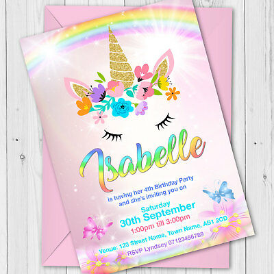 Details About Personalised Unicorn Birthday Party Invitations