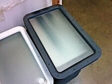 RV Camper Entry Door Window Rounded Frame Opaque Glass Black Interior & Exterior