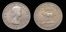 South Rhodesia 1954 2 Shilling Rare Key Date, XF, Low Mtg 300,000, Nice Grade