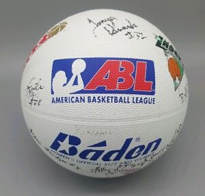 Vtg-COLUMBUS-QUEST-Team-Signed-BASKETBALL-Logo-ABL-Katie-Smith-Autograph-WNBA