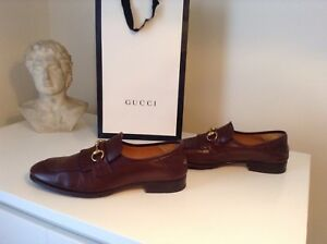 d6fd46104fc Image is loading Gucci-leather-fringe-horsebit-loafers-brown-size-8-