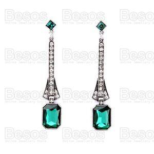 "EMERALD GREEN CRYSTAL 3""long EARRINGS silver pltd ELEGANT art deco style UK GIFT"