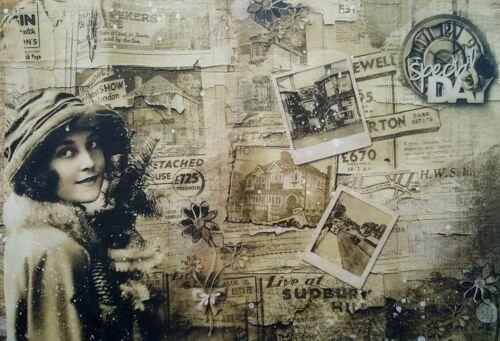 vintage vieux journal Papier de riz pour decoupage scrapbooking feuille Craft