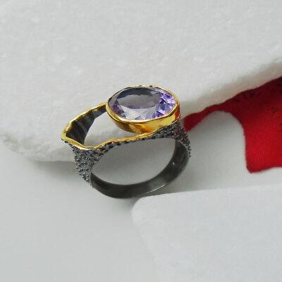 Amethyst lila gold schwarz Design Ring Ø 17 - 18 - 19 mm 925 Sterling Silber neu