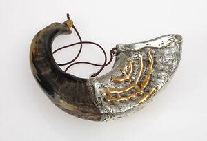 Anointing-oil-Silver-Ram-Shofar-Horn-Menorah-9-034-13-034-Judaica-Israel-Made