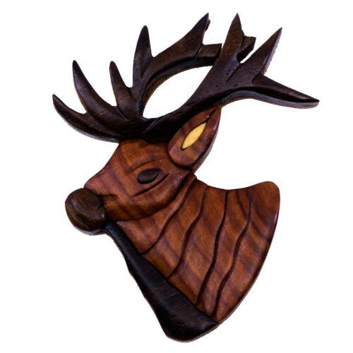 """Wood Intarsia Elk Deer Buck Magnet Handcrafted 3/"""" High New!"""
