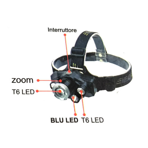 Torch Frontal Head Rechargeable LED Cob White Light Blue Zoom Cree T6 TE-B0076